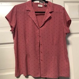 Unlisted Tops - Pink polka dotted blouse